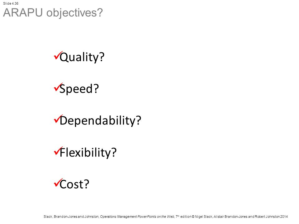 ARAPU objectives Quality Speed Dependability Flexibility Cost