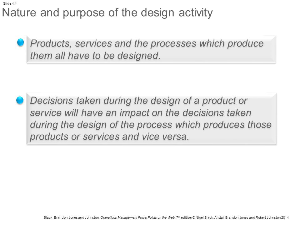 Nature and purpose of the design activity