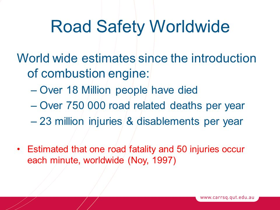 Road Safety Worldwide World wide estimates since the introduction of combustion engine: Over 18 Million people have died.