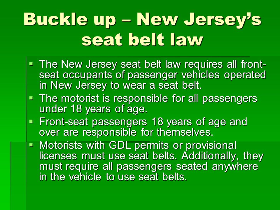 Buckle up – New Jersey's seat belt law
