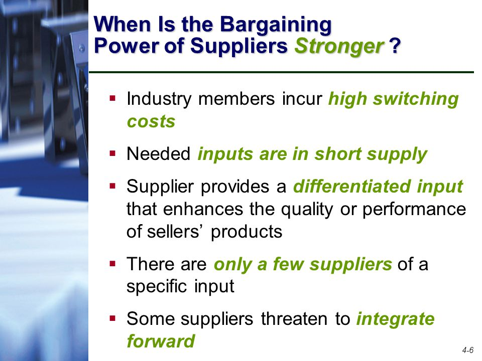 low bargaining power of suppliers Bargaining power is the relative ability of parties in a situation to exert influence  over each other  buying power is a specific type of bargaining power relating to  a purchaser and a supplier for example a retailer may be able to dictate price to .