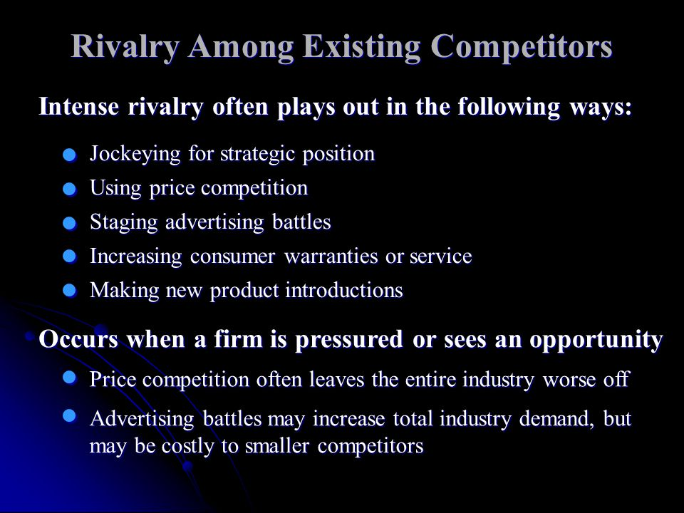 rivalry among existing competitors essay The article explains the different impacts that threats of new entrants, threats of substitutes, rivalry among existing competitors words 919 - pages 4 porter five forces essay.