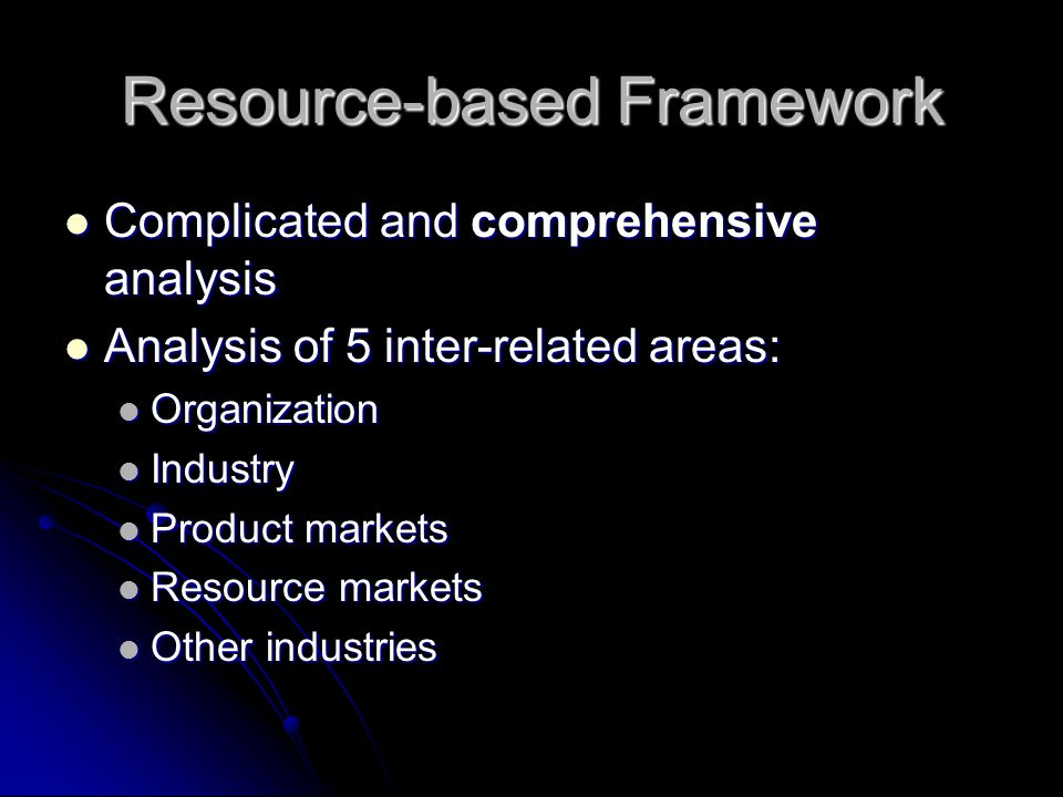 Resource-based Framework