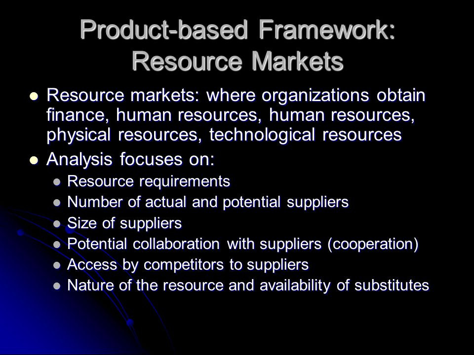 Product-based Framework: Resource Markets