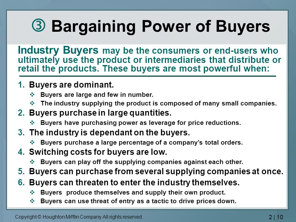  Bargaining Power of Buyers