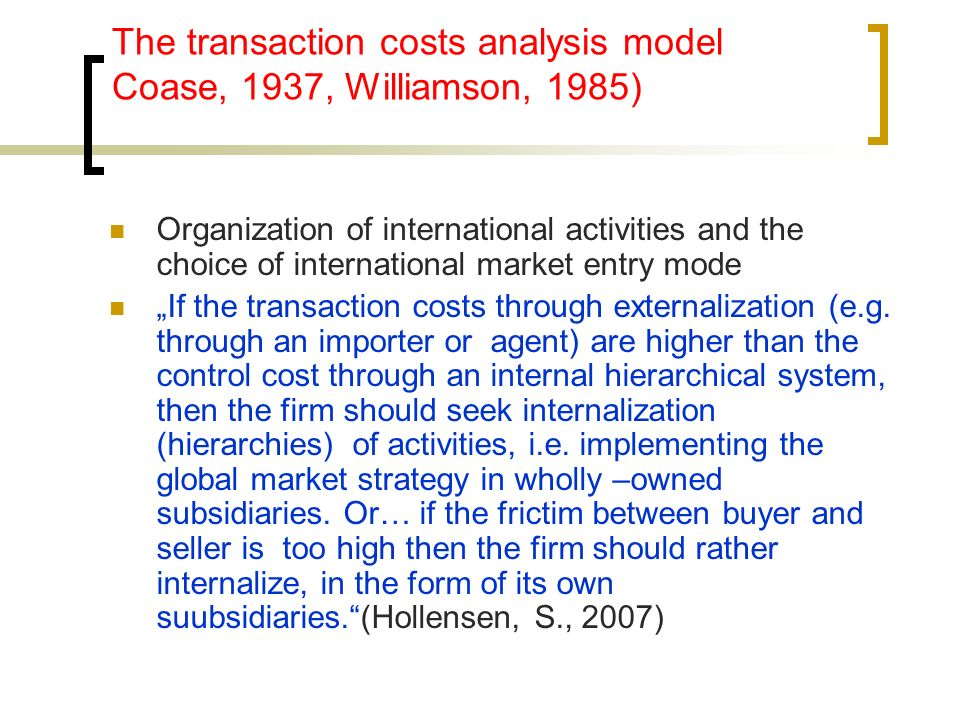 """the choice of foreign entry modes in a control perspective essay The choice of entry modes (internationalization methods, forms, instruments or   modes the different forms of entry into foreign markets have different efficiency,  but  parent firm only takes control, marketing and trading, as well as research  and  project """"international marketing: a visegrad perspective, nr 61100001."""