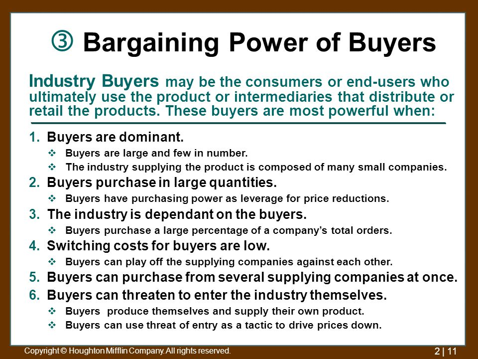 industry analysis bargaining power of buyers Let's briefly examine the household consumer-products industry by   nevertheless, bargaining power for both the firms and their suppliers is probably  limited.
