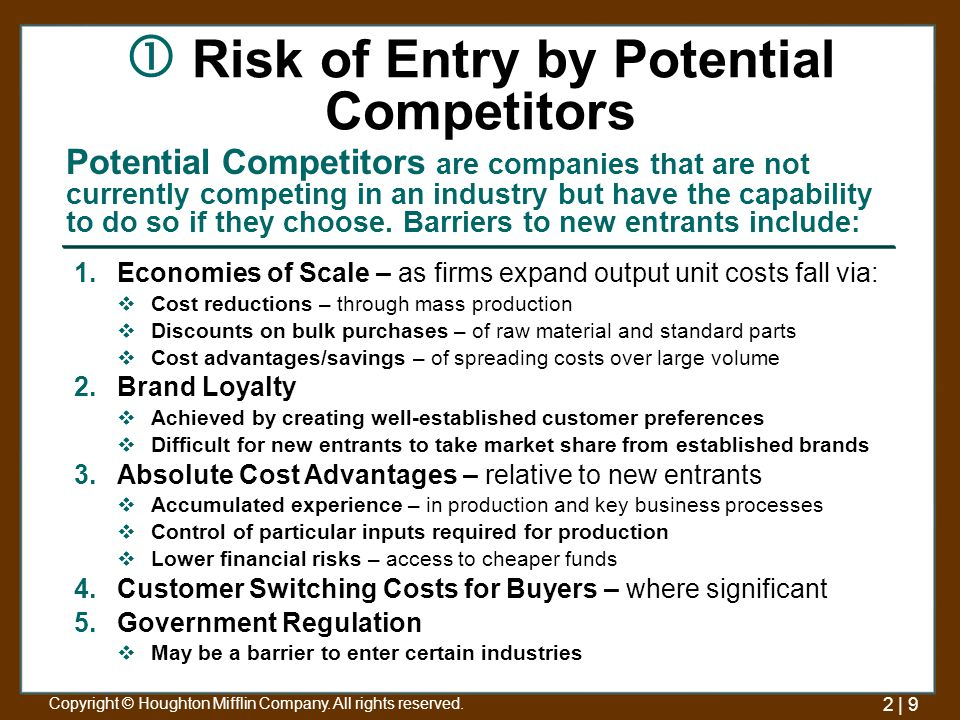 the risk of entry by potential competitors marketing essay Based on porter's five forces analyzed, the risk of entry by potential competitors was high bargaining power of suppliers was low, which was an opportunity for ibis hotel development in the last part of the report, the ibis hotel applied the franchising.