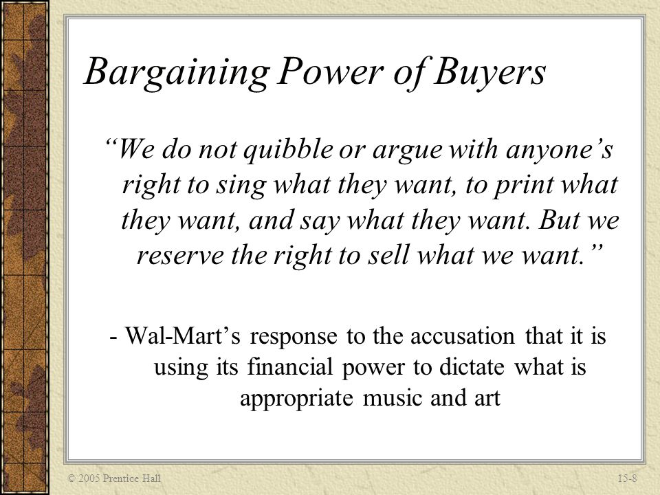 bargaining power of suppliers of walmart Wal-mart, meanwhile, also recently gathered cpg suppliers at its  just imagine  the uneven bargaining position brands could potentially be in.