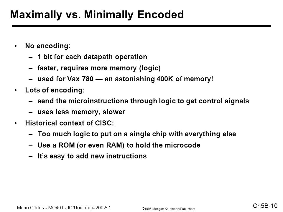 Maximally vs. Minimally Encoded