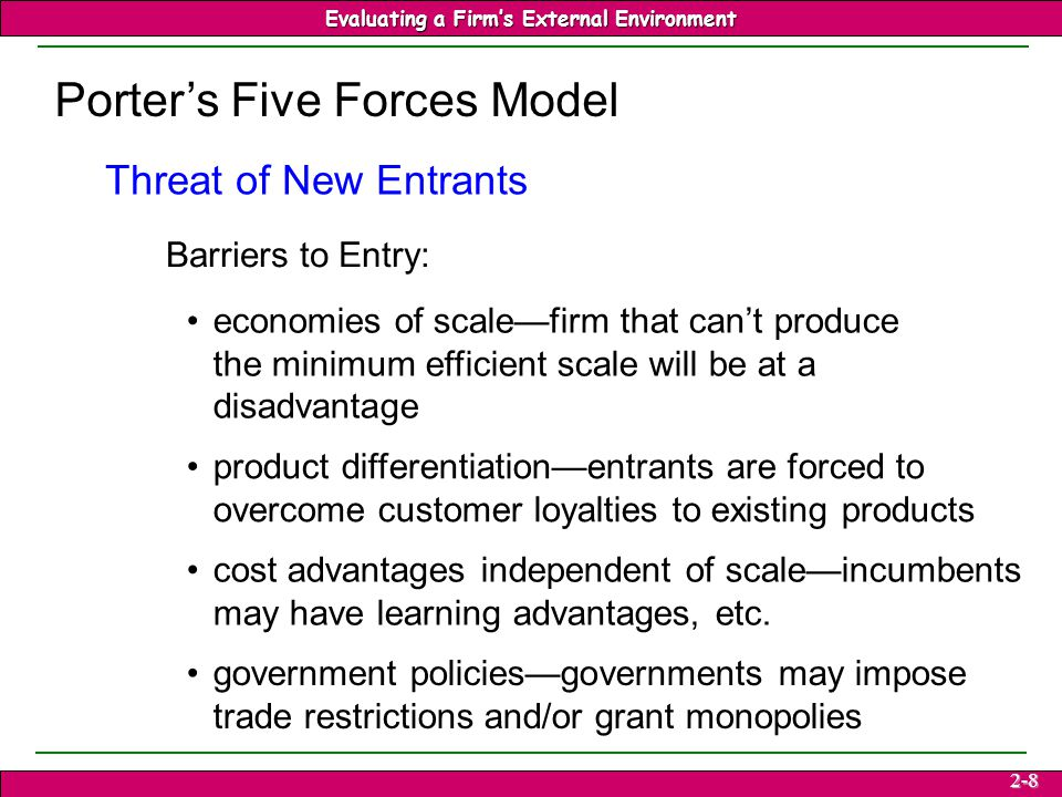 porters 5 forces threat of entry Industry rivalry—or rivalry among existing firms—is one of porter's five forces used to determine the intensity of competition in an industry other factors in this competitive analysis are: barriers to entry bargaining power of buyers  bargaining power of suppliers threat of substitutes.