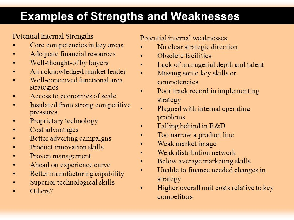 Example of recommendation of strengths