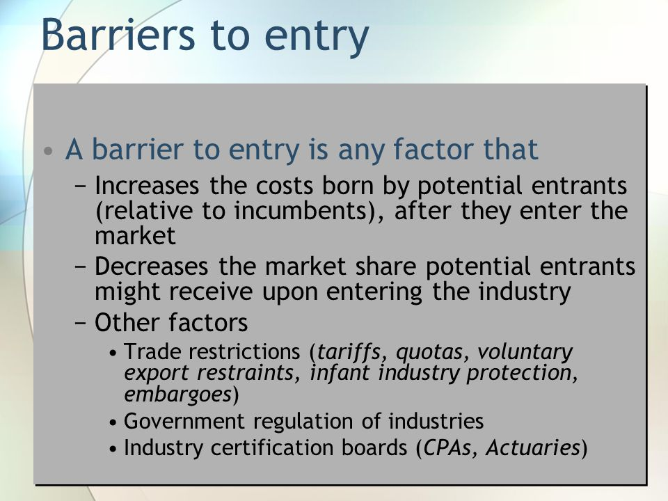 telecom industry barriers to entry Chapter 2: canadian telecom industry and policy 5 section 21:  avoid  collusion, barriers to entry and exercises of market power (cspr, 2014.