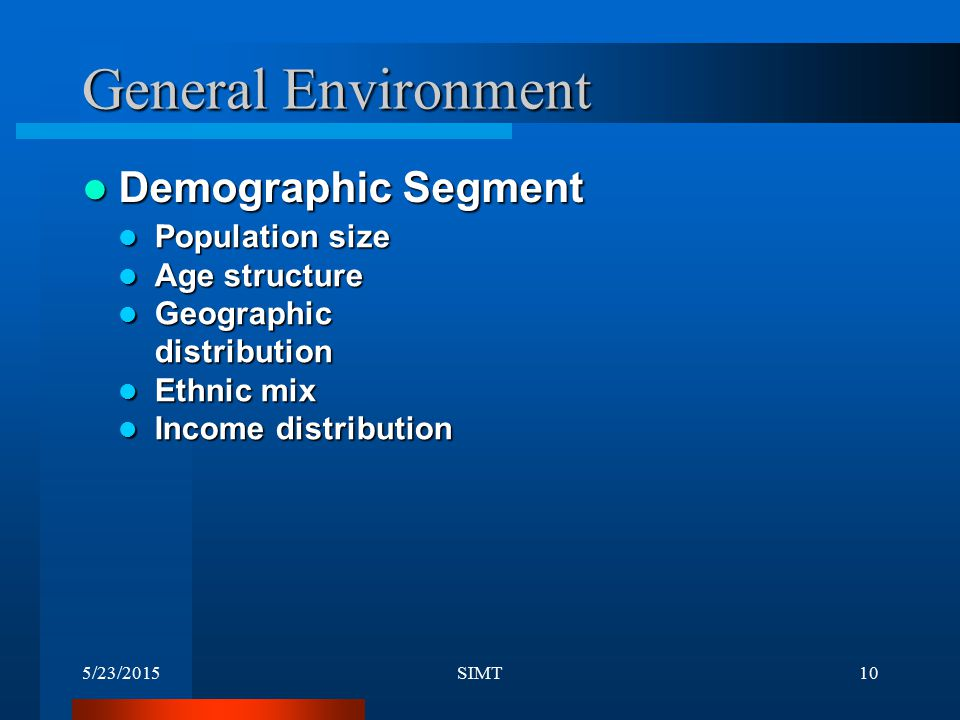General Environment Demographic Segment Population size Age structure