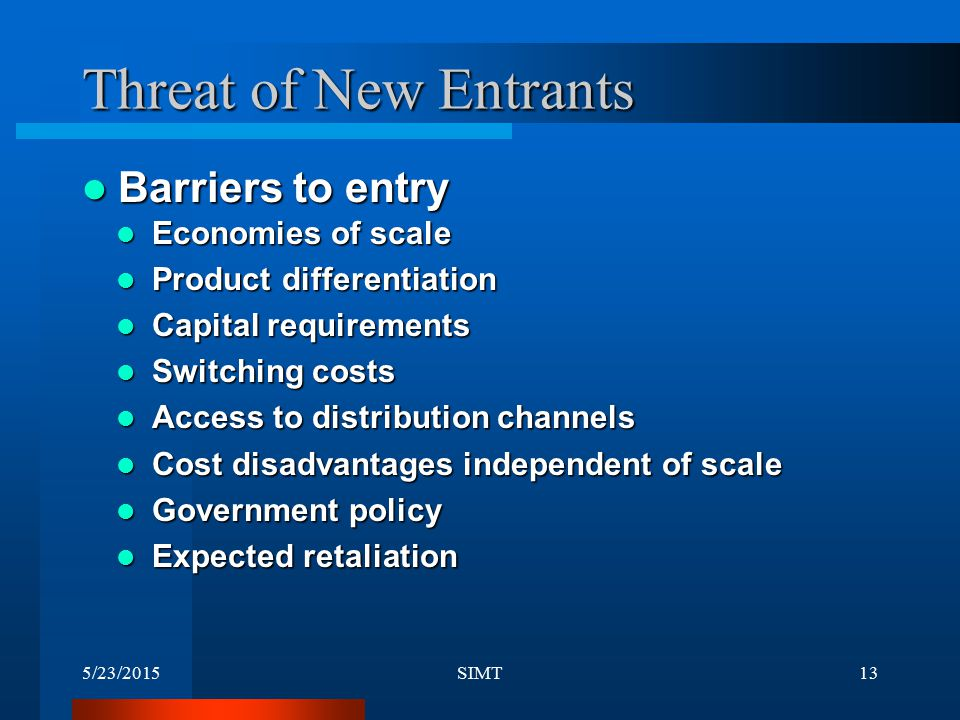 Threat of New Entrants Barriers to entry Economies of scale