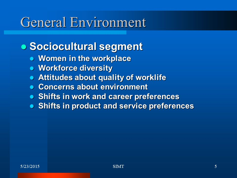 General Environment Sociocultural segment Women in the workplace