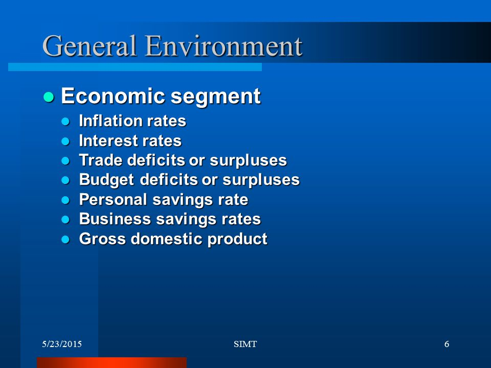 General Environment Economic segment Inflation rates Interest rates