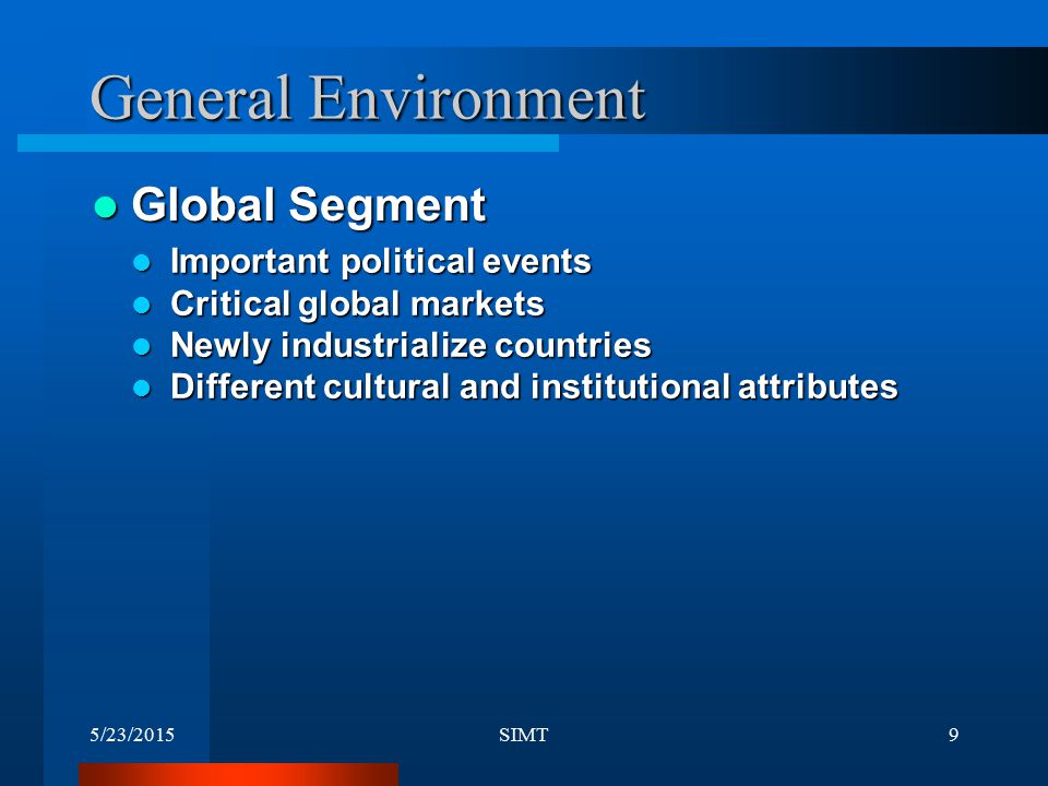 General Environment Global Segment Important political events