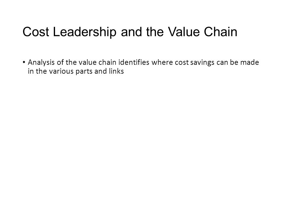 Cost Leadership and the Value Chain