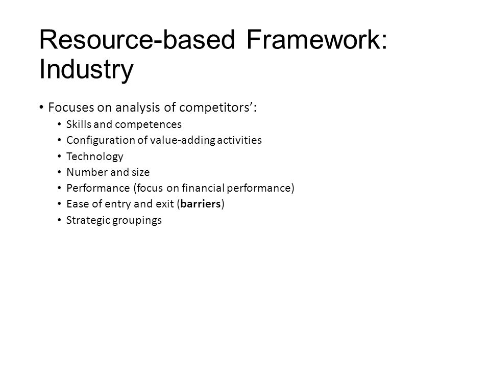 Resource-based Framework: Industry