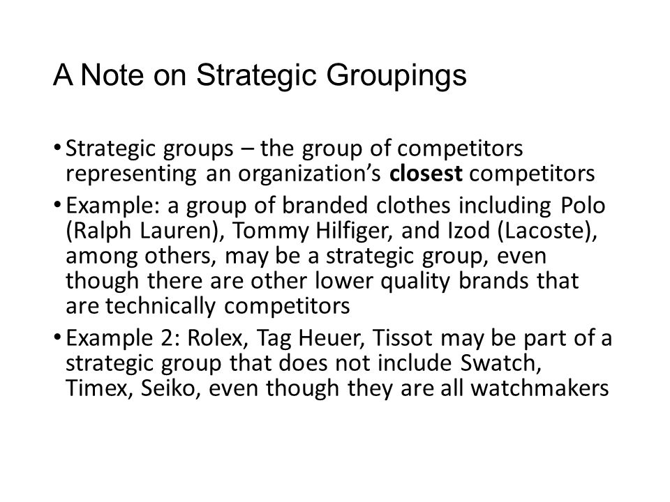 A Note on Strategic Groupings