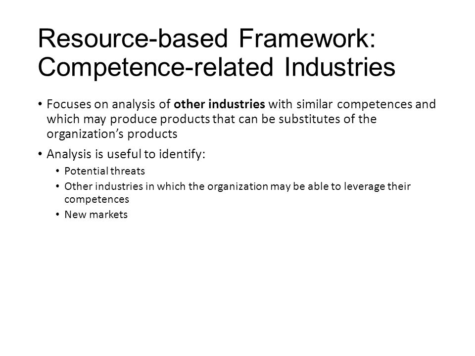 Resource-based Framework: Competence-related Industries
