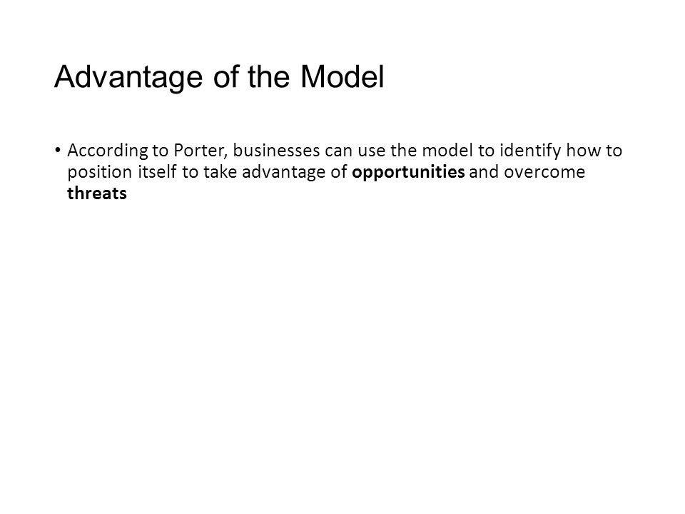 Advantage of the Model