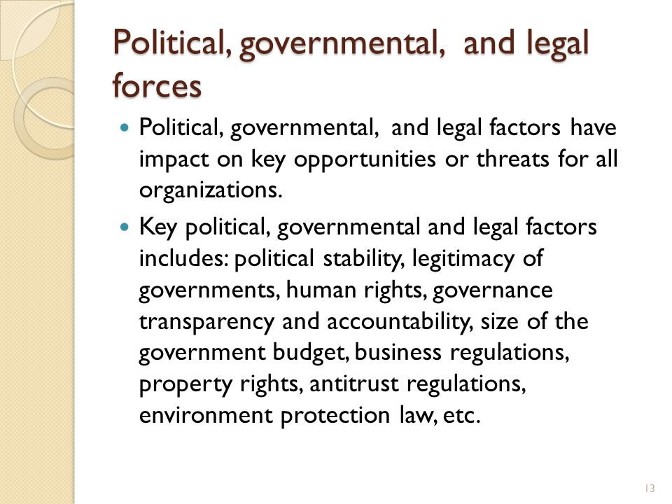 google political and legal factors Expands on the analysis of external context by looking in detail at specific types of issues that frequently have an impact on implementation of project/ initiatives the term 'pestel' refers to the domains it considers: political, economic, social technological, environmental and legal pestel involves identifying the factors.