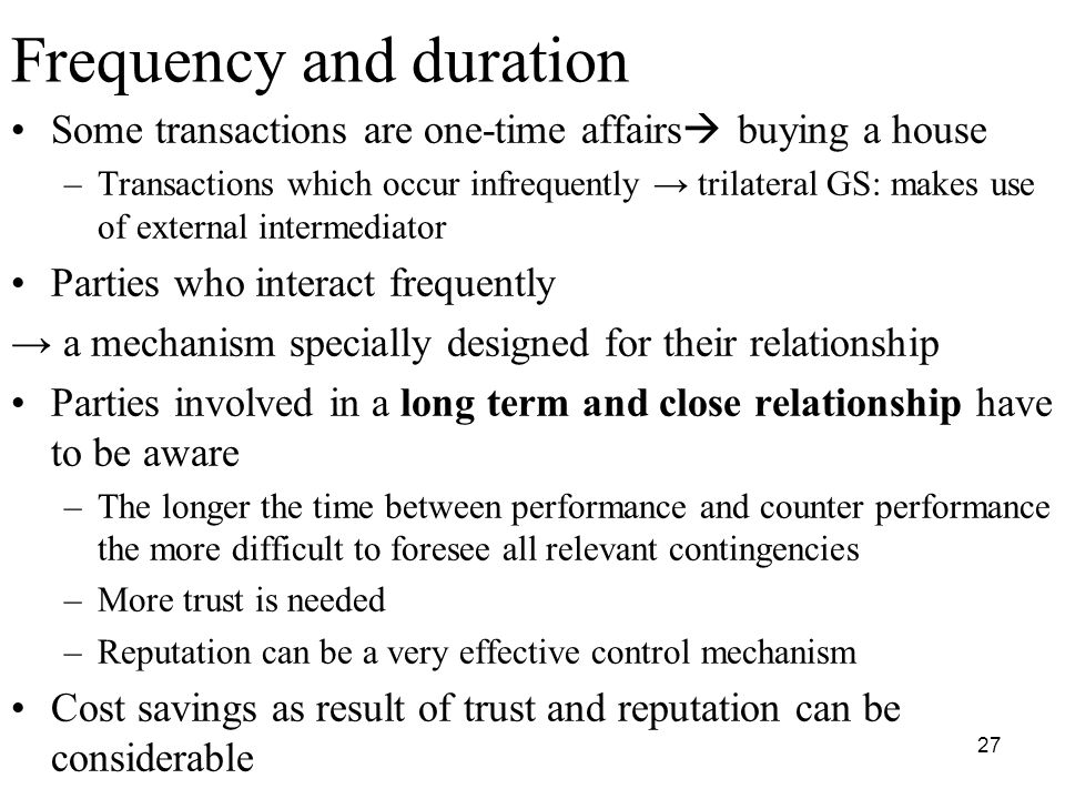 Frequency Counter Theory : Institutional economics and economic organisation theory