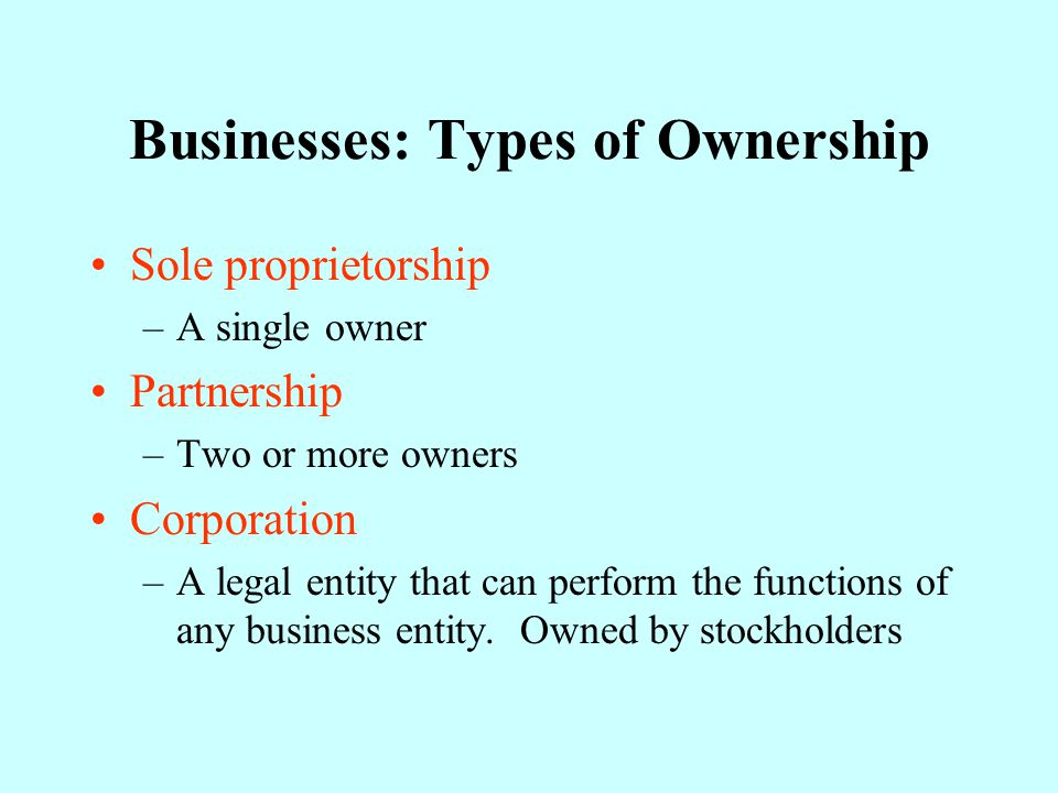 Businesses: Types of Ownership