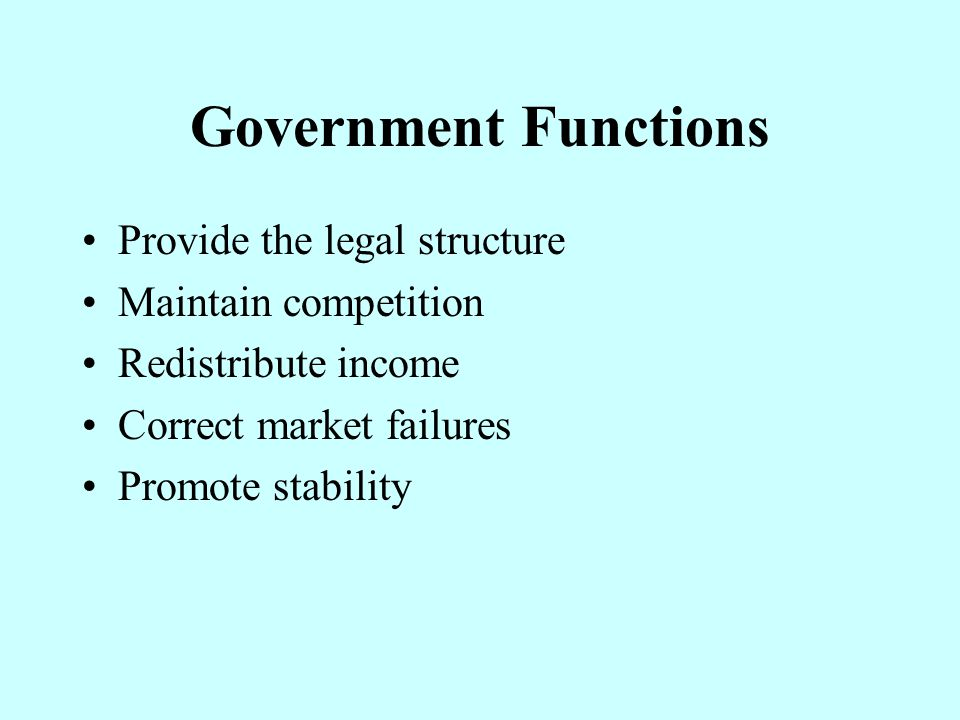Government Functions Provide the legal structure Maintain competition