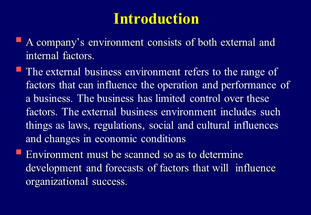 identifying the internal and external forces that influence the performance of an organization Those items you identify as being both important to your success and show a low performance for the organization are the factors your strategy should be addressing key points the internal analysis of your organization should include its culture, expertise, resources, and unique qualities within the market place.