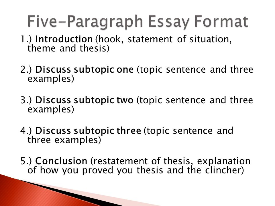 essay five paragraph format A 5-paragraph essay has a reasonably straightforward structure, and virtually every student understands it, at least theoretically the first of the five paragraphs is the introduction where the topic is presented to the readers.
