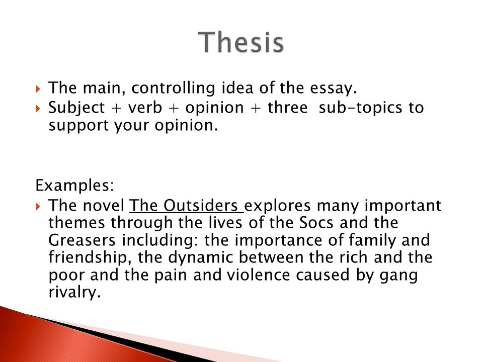 A good introduction for an essay about the outsiders