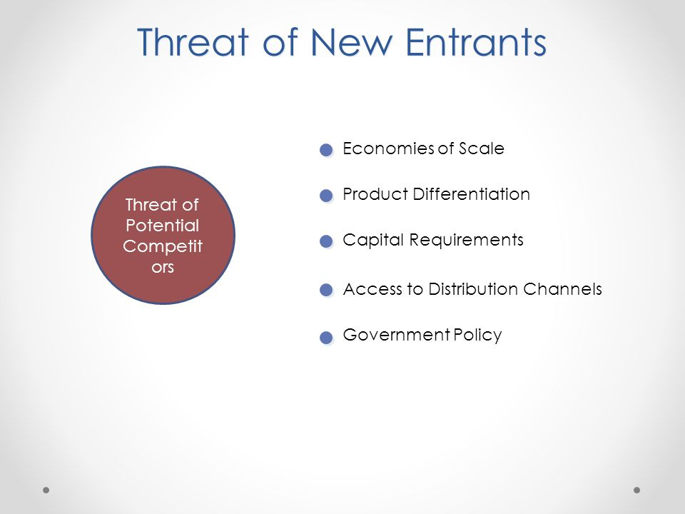 threat of potential entrants These are new or existing organisations that are not currently competitors, but could potentially enter the market that your company operates in potential entrants are also sometimes described as: new entrants threat of new entrants threat of new potential entrants risk of entry by potential competitors.