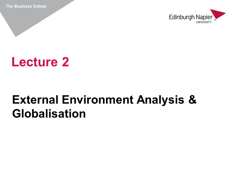 Lecture 2 External Environment Analysis & Globalisation