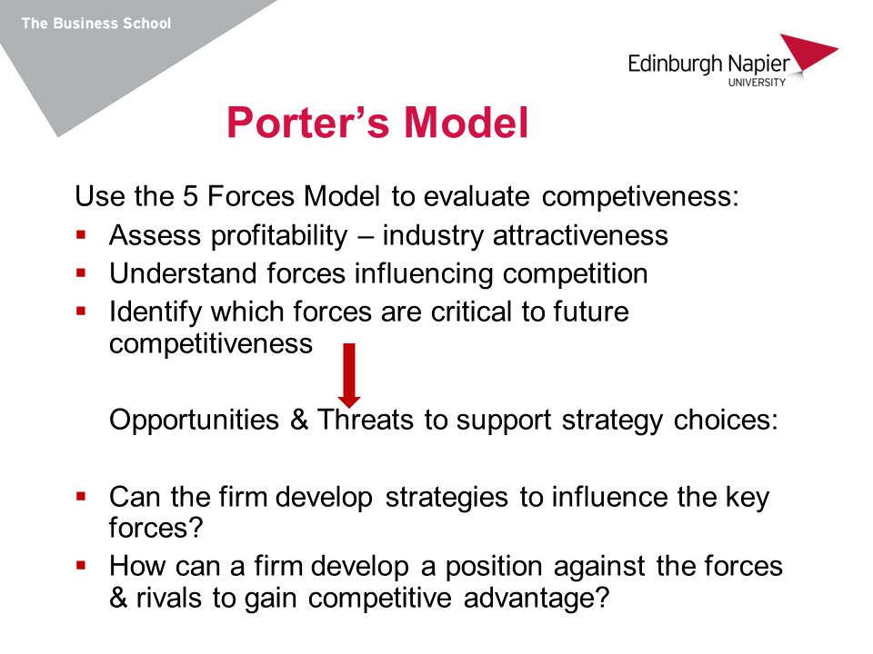 Porter's Model Use the 5 Forces Model to evaluate competiveness: