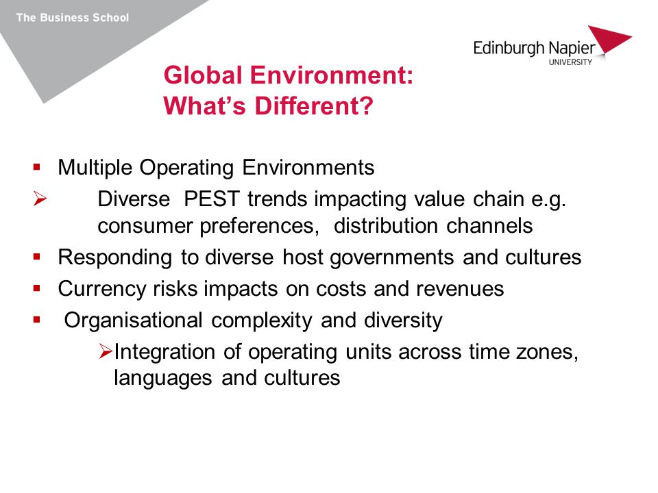 Global Environment: What's Different