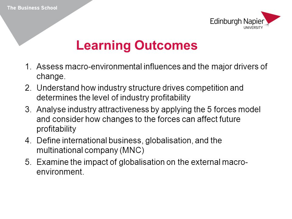 Learning Outcomes Assess macro-environmental influences and the major drivers of change.