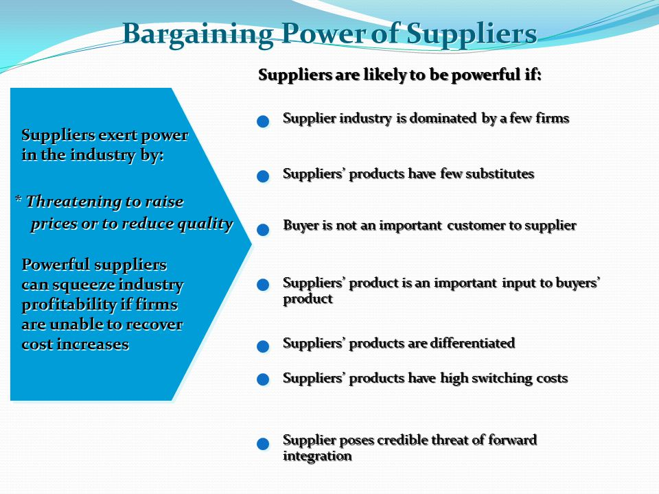 bargaining power of supplier essay Buyer bargaining power (one of porter's five forces) essay sample porter's five forces of buyer bargaining power refers to the pressure consumers can exert on businesses to get them to provide higher quality products, better.