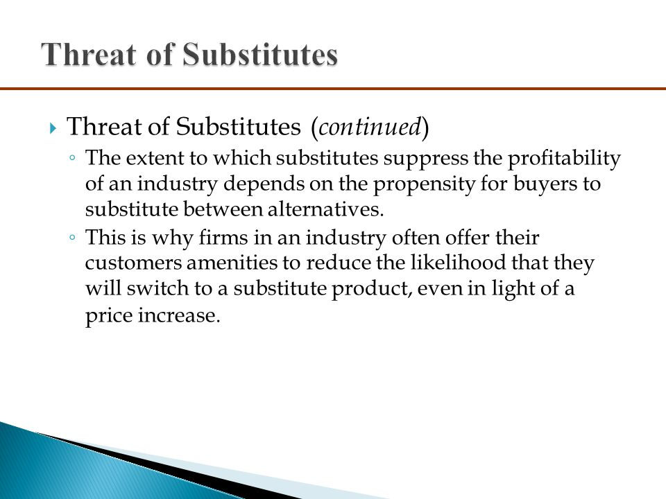 threat of substitute Threat of entry to the market from other organisations supplier power buyer  power availability of substitute products existing competitors the elements.