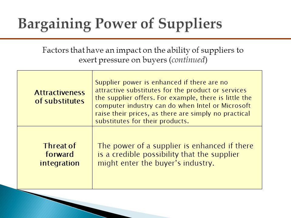 the bargaining power of supplier of Bargaining power of suppliers: the more powerful a seller is relative to the buyer, the more influence the seller has this influence can be used to reduce the.