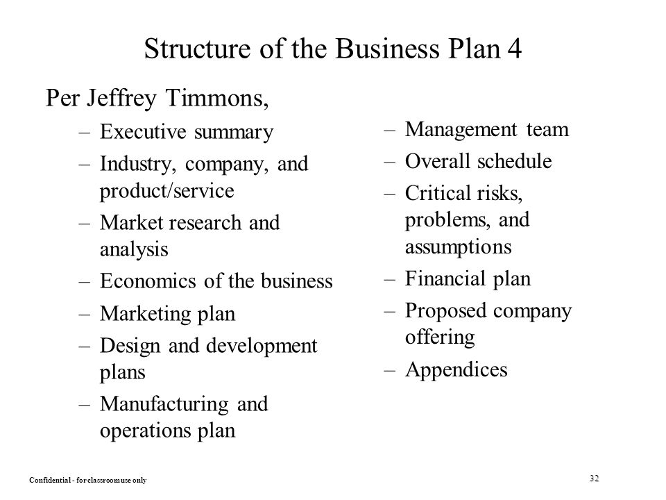 Product based structure business plan