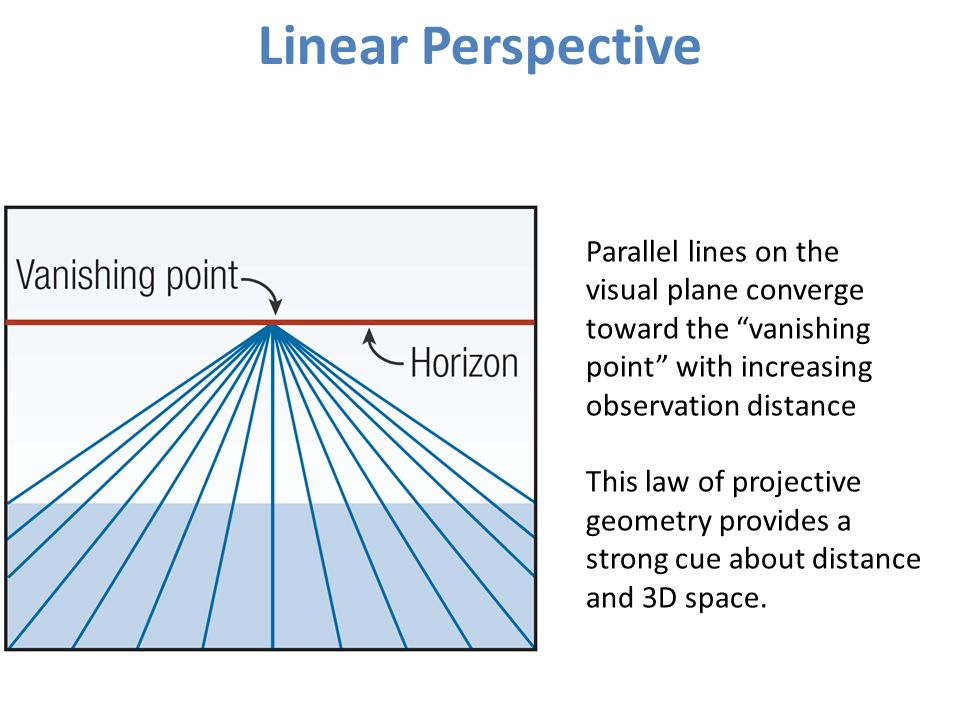 Linear Perspective Parallel lines on the visual plane converge