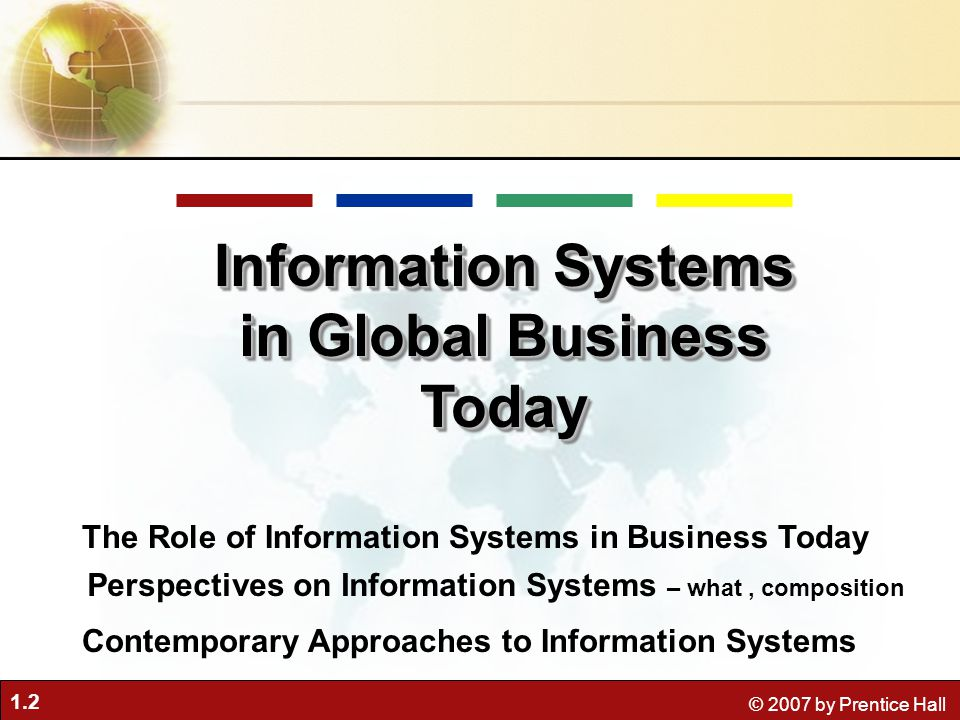 information system in global business today essay Chapter 1 information systems in global business today | august 14, 2018 47)  information systems contain information about significant people, places, and things within the organization or in the environment  100% non-plagiarized papers 24/7 /365 service available affordable prices any paper, urgency, and subject.
