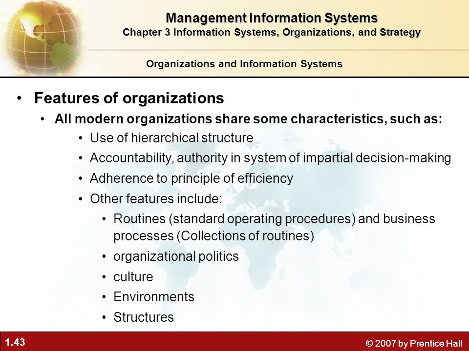 features of modern organizations Broader theory concerned with administrative management functions and is  considered the forerunner of modern organization theory as with scientific.