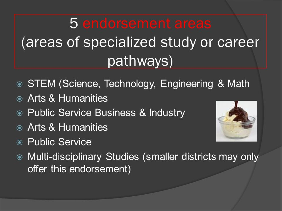 5 endorsement areas (areas of specialized study or career pathways)