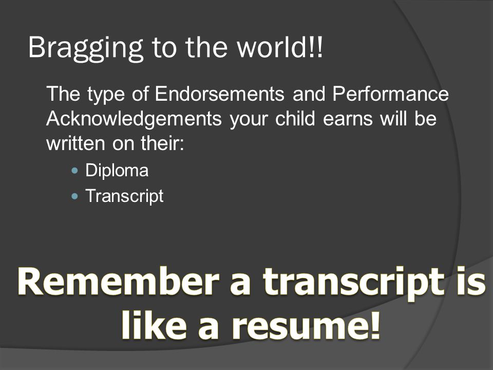Remember a transcript is like a resume!