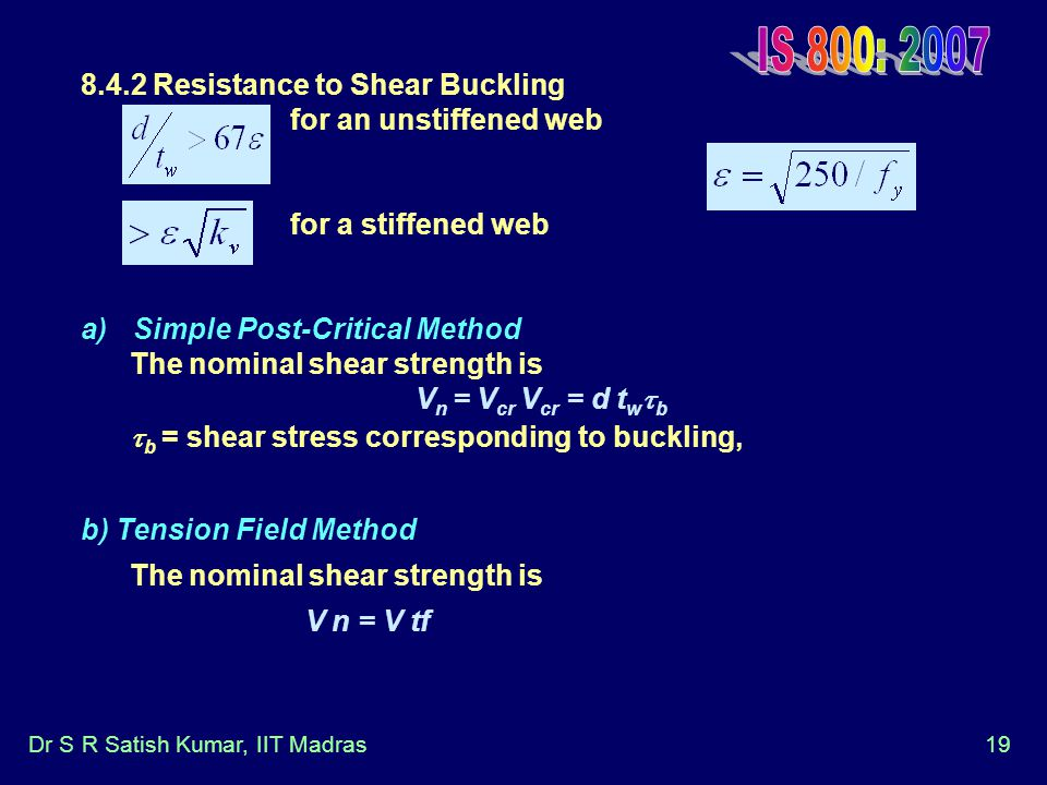 IS 800: Resistance to Shear Buckling for an unstiffened web