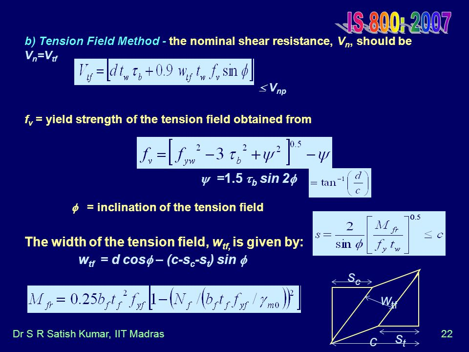 IS 800: 2007 b) Tension Field Method - the nominal shear resistance, Vn, should be Vn=Vtf.  Vnp.